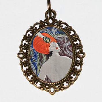 Smoking Lady Necklace, French Poster, Art Nouveau Jewelry, Oval Pendant