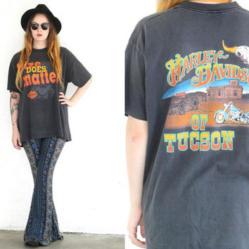 Vintage 90s HARLEY DAVIDSON Size Does Matter T Shirt // Steer Skull Tee // Bohemian Gypsy Hipster // Small / Medium / Large