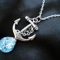 Anchor Bright Blue Glass Fried Marble Chain Necklace