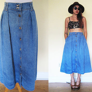 Vintage blue jeans denim button down flare maxi skirt hippie boho bohemian