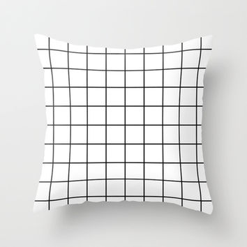 White Grid Throw Pillow by Sara Eshak