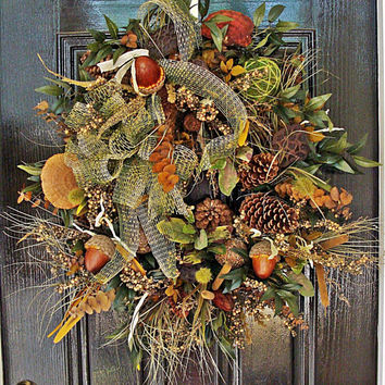 Autumn, Fall, Christmas or Thanksgiving Wreath - Woodsy and Earthy Wreath w/Lotus Pods, Acorns, Berries, Pinecones, and Greenery