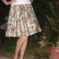 Womens Circle Skirt Sage Green Large Floral Print Full Circle Knee Length Skirt