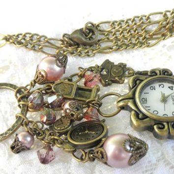 """Romantic Vintage Looking""Pink and Bronze Watch Charm Necklace."