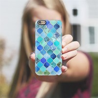 Cobalt Blue, Aqua & Silver Grey Decorative Moroccan Tile Pattern iPhone 6 case by Micklyn Le Feuvre | Casetify