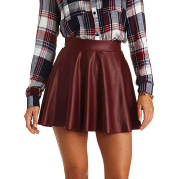 COLORED FAUX LEATHER SKATER SKIRT