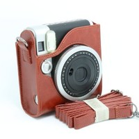 CAIUL PU Leather Instant Camera Case For Fujifilm Instax Mini 90 Neo Classic Instant Camera, Brown