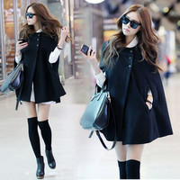 Womens Ladies Batwing Wool Poncho Winter Coat Jacket Warm Loose Cloak Cape Parka