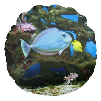 Sea Blue Fish Round Throw Pillow