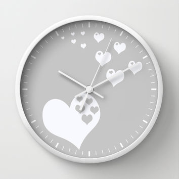 Gray White Hearts of Love Wall Clock by Beautiful Homes