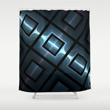 Blue Grid Boxes Shower Curtain by 319media