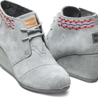 GREY EMBROIDERED WOMEN'S DESERT WEDGES
