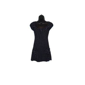 Reconstructed Black with Purple Polka  Dotted Top with front Pockets Womens Clothing Large