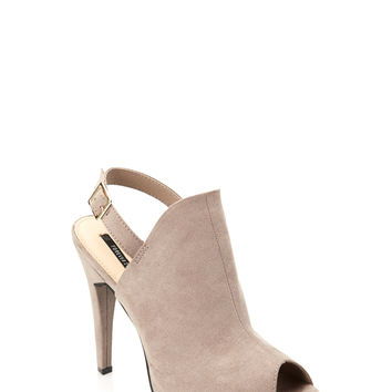Peep-Toe Faux Suede Booties