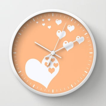 Peach Orange Hearts of Love Wall Clock by Beautiful Homes