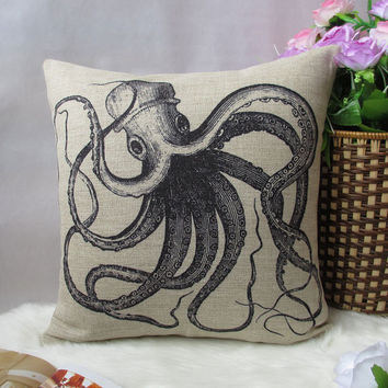 Octopus printed pillow cover 18X18