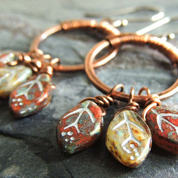 Autumn Leaves Earrings, Red Gold Earrings, Hammered Copper Rings, Fall Jewelry, Nature Inspired, Woodland, Tree Leaves