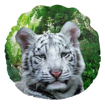 White Bengal Round Throw Pillow
