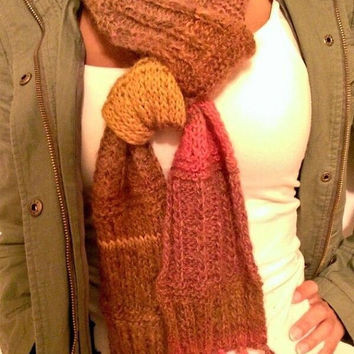 Handmade Extra Long Multicolor (Red, Yellow, Orange, Brown, Burgundy) Autumn/Fall and Winter Scarf