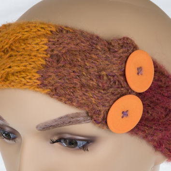 Handmade Red, Yellow, and Orange Winter Ear Warmer Headband