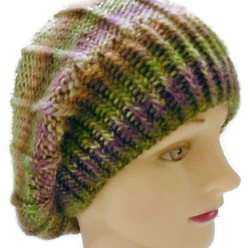 Handmade Multicolor Warm Winter Hat Slouchy Colorful Hat Multicolor French Beret