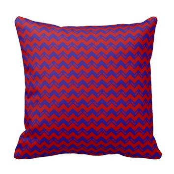 2015 Grad Chevron Pillow, Red-blue