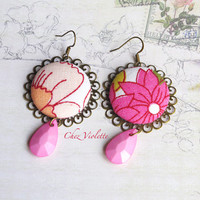 Rose Pink earrings, Floral earring, vintage fabric earrings, facet drop bead earring, large round dangle