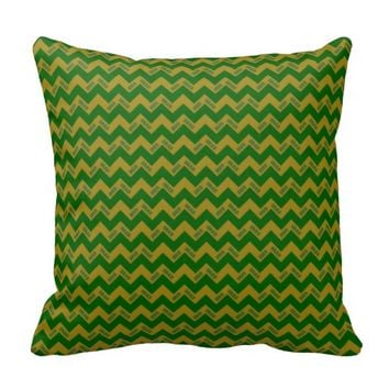 2015 Grad Chevron Pillow, Green-gold