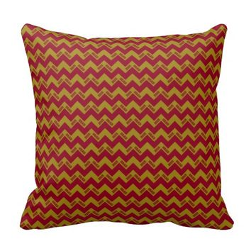 2015 Grad Chevron Pillow, Burgundy-gold
