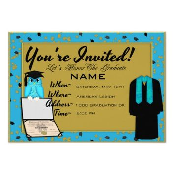 Graduation Gown and Stole Light Blue Invites