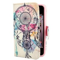 Iphone 5C Case,Colorful Dream catcher PU Leather Wallet Design Flip Case Cover for Apple Iphone 5C