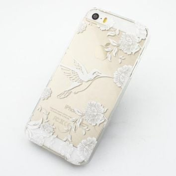 Clear Plastic Case Cover for Apple iPhone 5/5S, 5C, 6, 6Plus 6+ - Henna Vintage Hummingird floral flower bird japanese cherry blossom roses