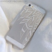 Clear Plastic Case Cover for Apple iPhone 5/5S, 5C, 6, 6Plus 6+ - Henna Abstract Feathers tribal native ethnic american indian