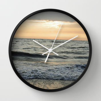 Summer Beach Sunset Wall Clock by Rebekah Joan