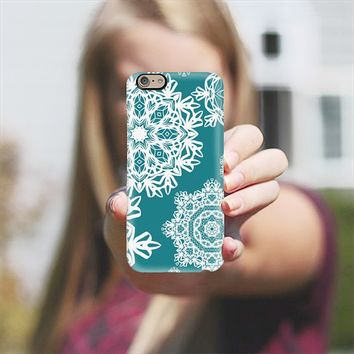 Flurries on Teal iPhone 6 case by Lisa Argyropoulos | Casetify