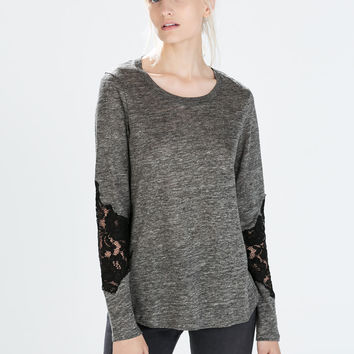 Lace sleeve linen t-shirt