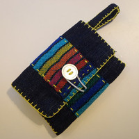 Card Holder - Mini Coin Purse - Jewelery Pouch - Gift Card Cover - Denim Business Card Wallet - Mexican Fabric - Blue