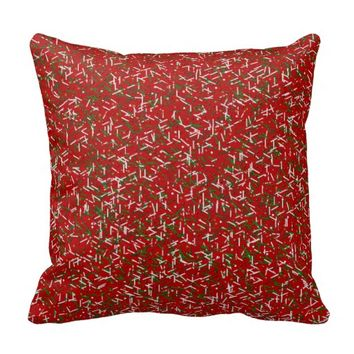 Candy Sprinkles with Polka dots Throw Pillow, Red
