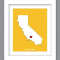 Sale 25% Off - Print State California Heart (8X10)