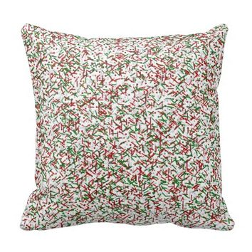 Candy Sprinkles with Polka dots Throw Pillow,White