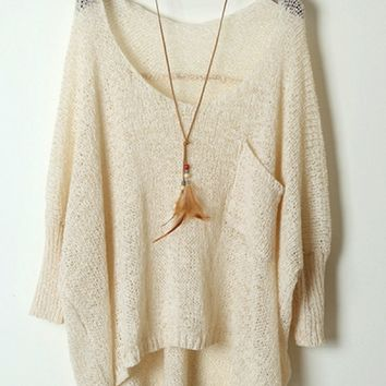 Batwing Sleeve High-Low Sweater - OASAP.com