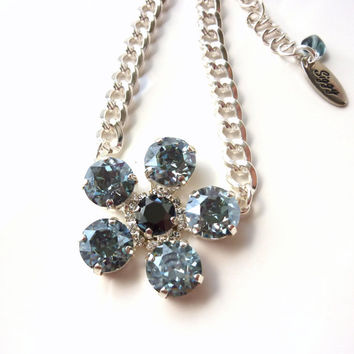 "Swarovski crystal fancy flower pendant, ""Mystify"", elegant blue shade, earrings to match, designer inspired Siggy bling"