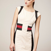White Cotton  &quot;Workplace Warrior&quot; Dress with Black and Red Detail