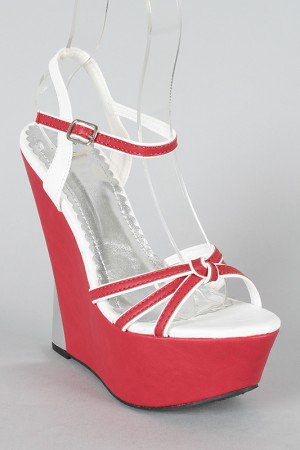 Abina-3 Two Tone Knotted Strappy Open Toe Wedge