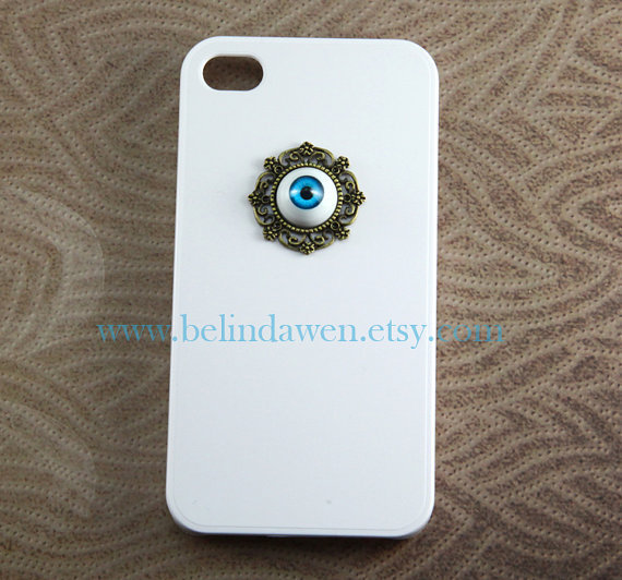 Harry Potter, blue evil eye, white Iphone 4 Case Cover, iPhone 4s Case, iPhone 4 Hard Case