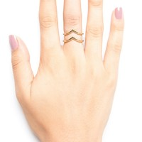 GOLD CHEVRON 2 RING SET