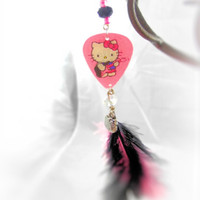 Earrings- Long / Hello Kitty Motion Guitar Pick/  Feathers/ Crystal Beads/ Pink, Black, - OOAK Jewelry