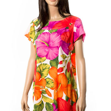 Hawaiian muumuu dress beach wedding floral island print