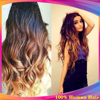 Peruvian three tone ombre 180 heavy density human hair wig