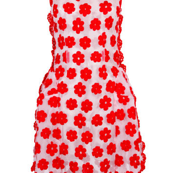 Red Embroidered Floral Dress With Crochet Trim by Simone Rocha - Moda Operandi